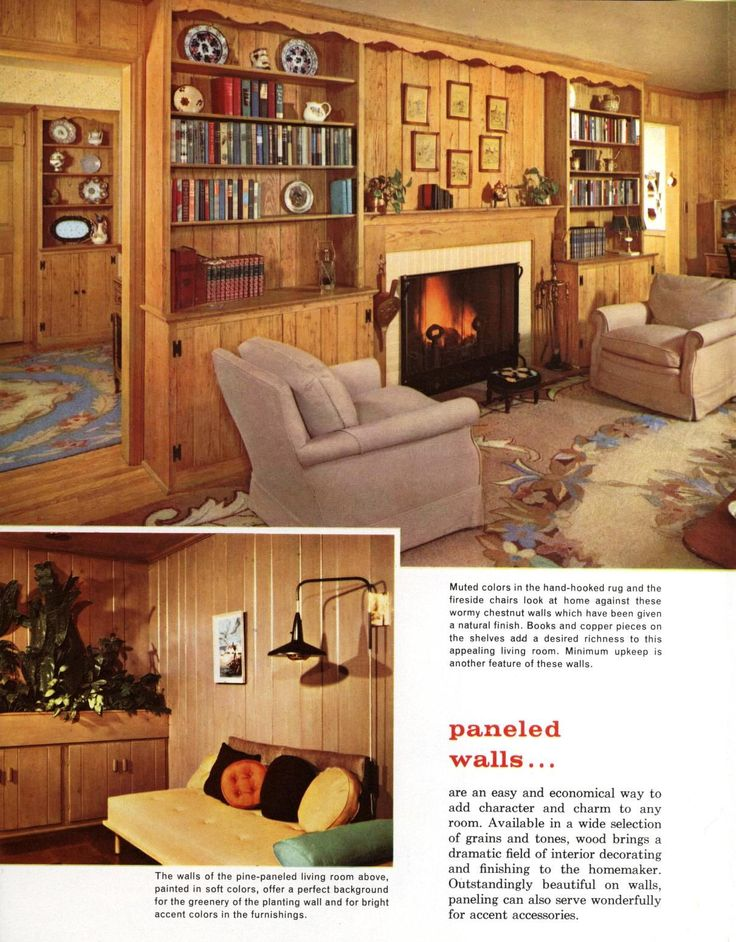 All sizes | Living Room with paneled walls (1958) | Flickr - Photo Sharing   1950s InteriorKnotty Pine WallsPaneled WallsVintage HomesVintage ...