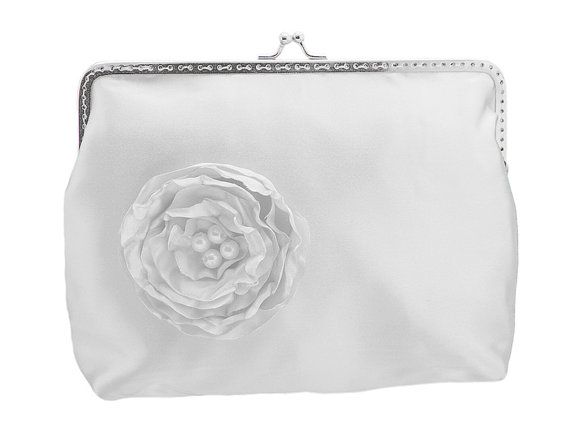 White satin frame clutch bag in glamour style by FashionForWomen