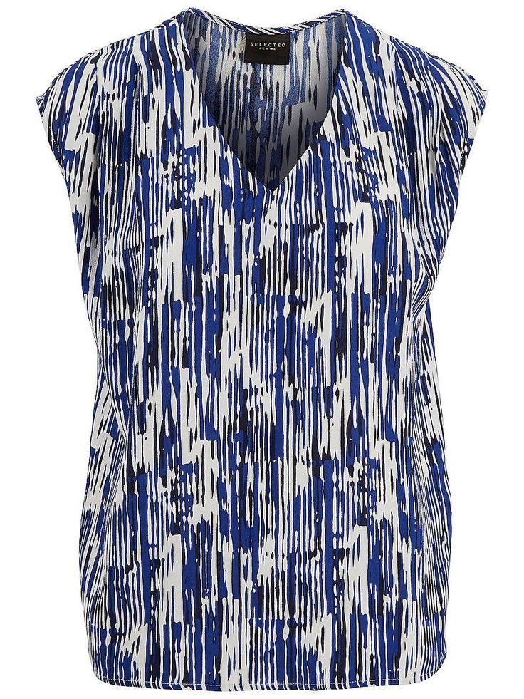 Selected Femme - Loose fit - 100 % Viskose - V-Ausschnitt - Falte an den Schultern - Spezielles Muster - Leichte Qualität Ein leichtes Viskose-Oberteil in buntem Muster. Trage dazu eine passende Hose oder einen Rock und Sneakers für einen lässig schicken Look. 100% Viskose...