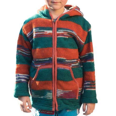 Red & Green Wool Kids Jacket