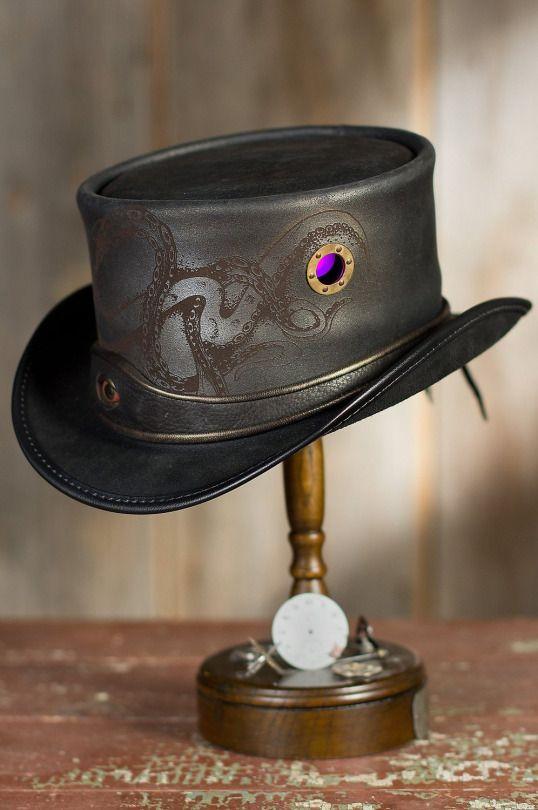 Made in U.S.A Steampunk Kraken Leather Top Hat by SteampunkHatter.com