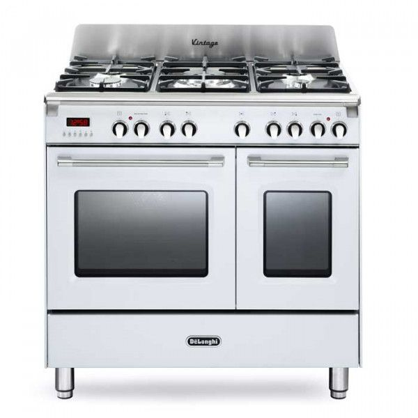 Delonghi DVTR 906-DF/WH 90cm Gloss White Twin Cavity Dual Fuel £995