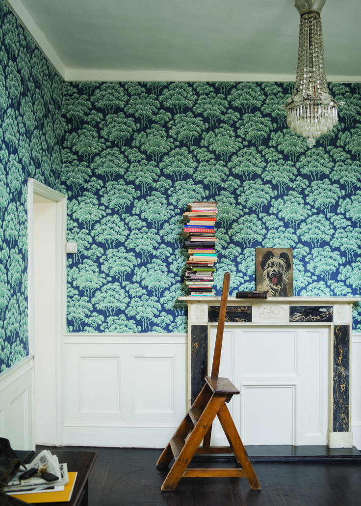 Farrow And Ball Wallpaper Blue And Green And White With White Wood Panelling