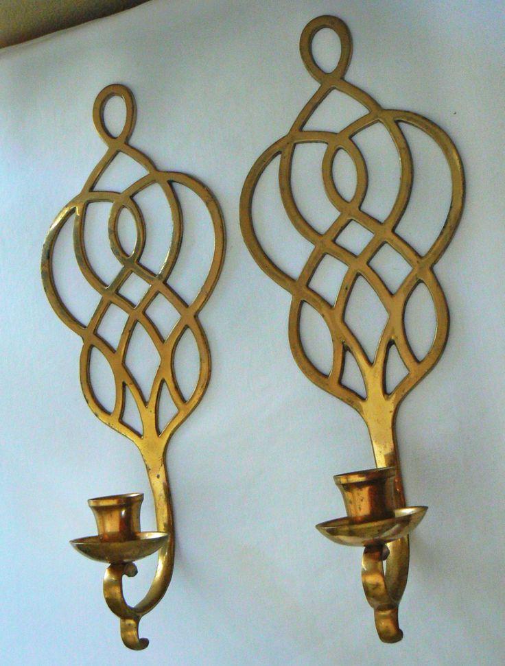 Vintage bronce candelabros de pared apliques por SpringRainVintage