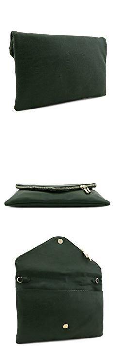 Green Clutch Purse. Large Envelope Clutch Bag with Chain Strap (Olive).  #green #clutch #purse #greenclutch #clutchpurse