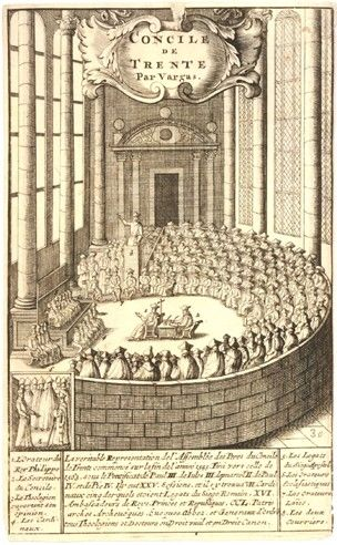 Council of Trent in full session. c.1650 Engraving     After: Luis de Vargas
