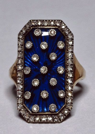 "Diamond and enamel ring, which belonged to Marie Antoinette. Rings set with diamonds on dark blue or red enamel became very fashionable in Europe in the late 18th century and into the 19th century. The diamonds were set to imitate stars or floral sprays. In this example, the blue enamelled ring evoke celestial allusions, and the rings of this kind were called ""bagues au firmament"" (Rings of the Heavens). #MarieAntoinette #Antique"