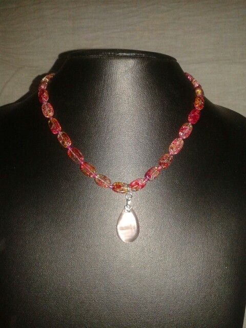 Flat crackle beada chain with teardrop pendant  Sold out