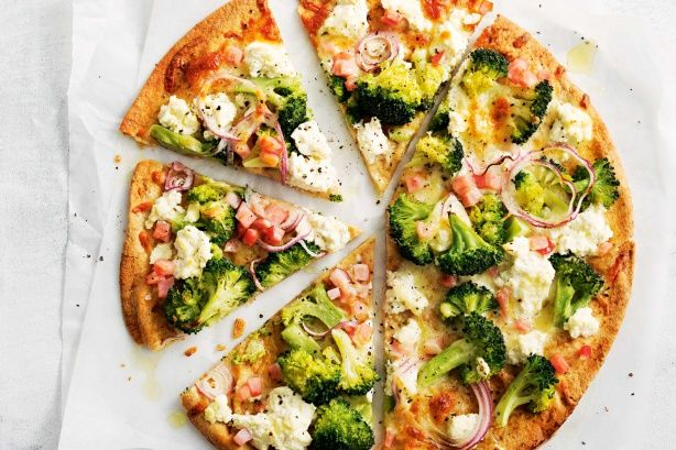 Broccoli and bacon pizza - Creamy ricotta lowers the calories for this speedy pizza, and teams perfectly with salty bacon.