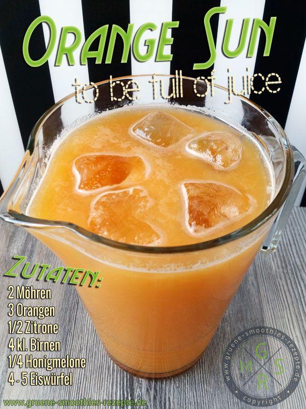 Kaltgepresster Saft aus Möhren, Birne, Honigmelone, Orange und Zitrone