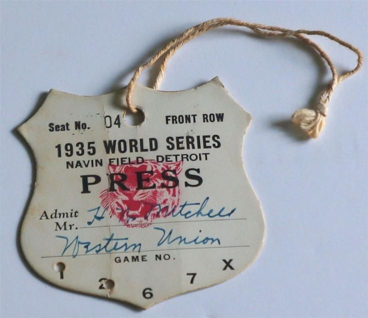 1935 World Series Detroit Tigers vs Chicago Cubs Press Pass   The 1935 World Series featured the Detroit Tigers and the Chicago Cubs, with the Tigers winning in six games for their first championship in five Series appearances. They had lost in 1907, 1908, 1909, and 1934.  SOLD $237.50