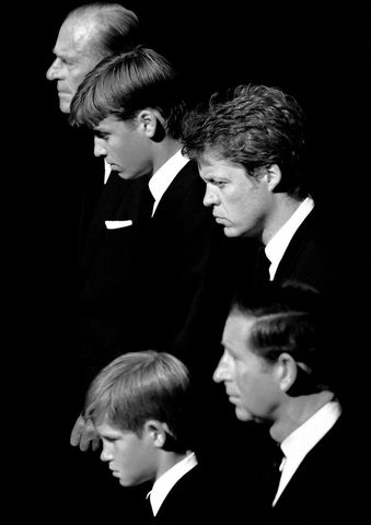 Prince Consort Phillip, Duke of Edinburgh, Prince William, Diana Spencer's brother, Charles, Earl Spencer, Prince Charles, and Prince Harry 1997 at the funeral service of Diana.