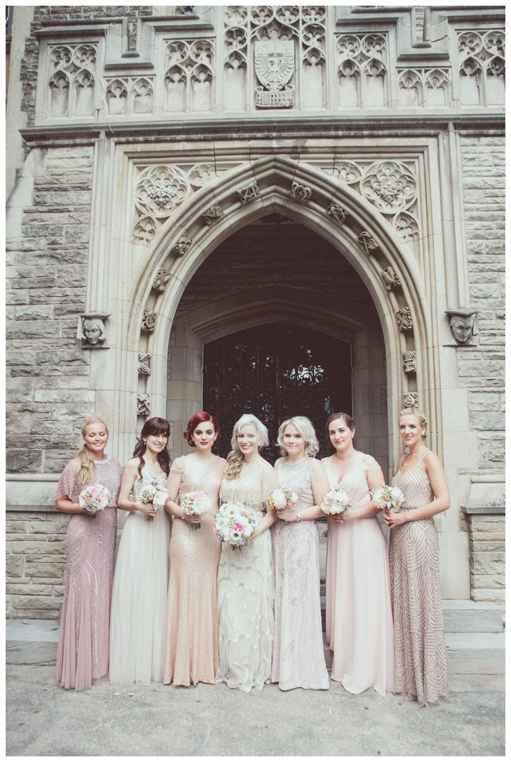 Bridesmaids in blush pink dresses at McMaster University. Great Gatsby themed wedding. Photo by New Vintage Media