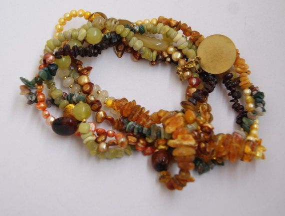 multicolour statement necklace big necklace by handmadestreet101
