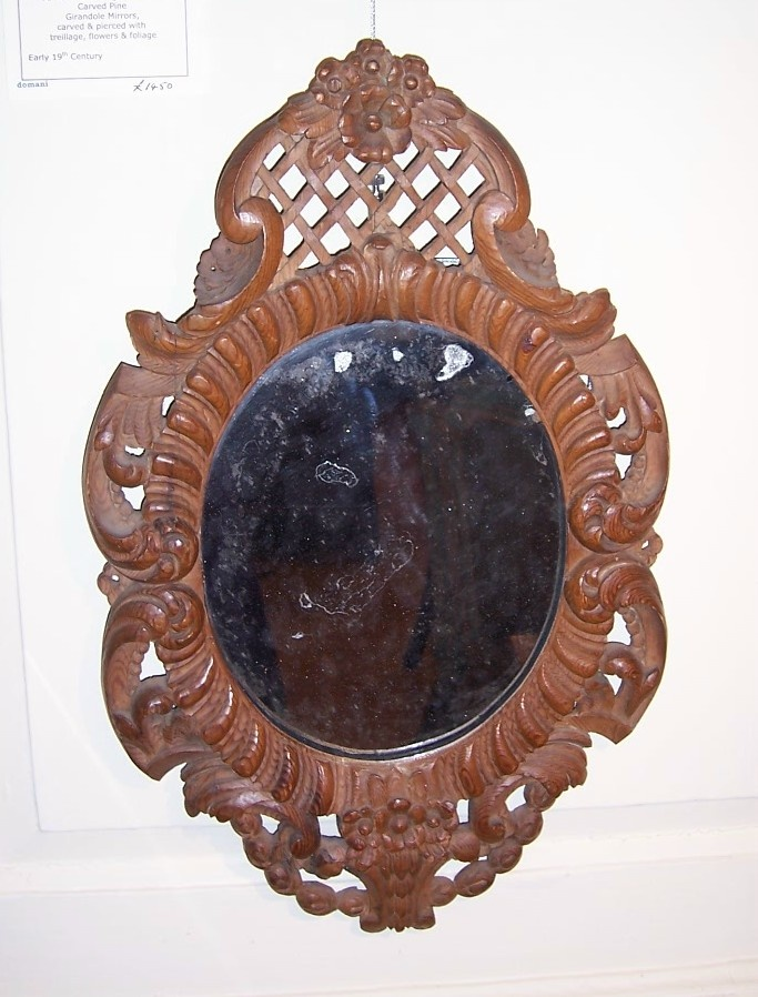 """NOW SOLD! One of a pair of Early 19th Century French Regence style Carved Pine Girandole Mirrors, with original mercury plate.  Circa 1820, 12 1/2""""w x 20 1/2""""h, http://www.domani-devon.com/stock/mirrors/pair-french-carved-girandole-mirrors"""