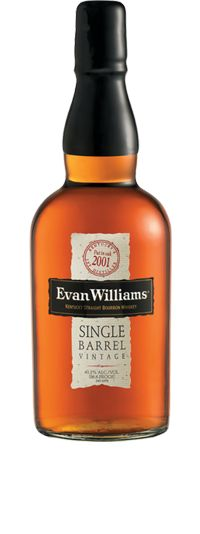 Evan Williams Single Barrel Vintage Bourbon is bottled solely from one barrel hand-selected by Master Distillers Parker and Craig Beam, not from the mingling of many barrels, which is the practice for standard blended and Small Batch Bourbons.    Like a fine wine, each bottle of Evan Williams Single Barrel Vintage Bourbon contains a date telling when it was put in oak and bottled, in addition to the exact serial number of the single barrel from which it was drawn.