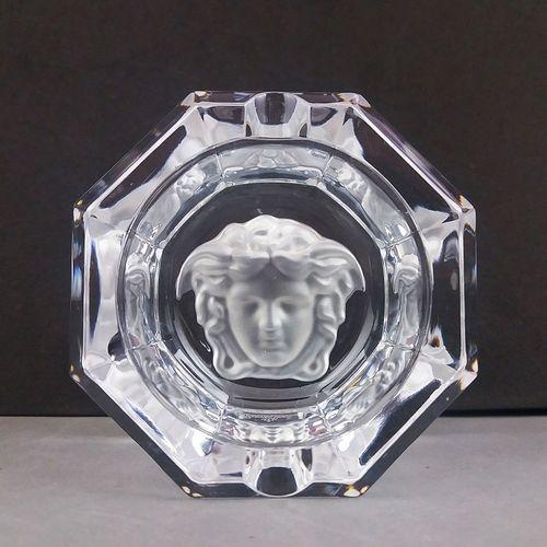"Versace Medusa Head Rosenthal Octagonal Crystal 7.5cm / 2.95"" Cigar Ashtray"