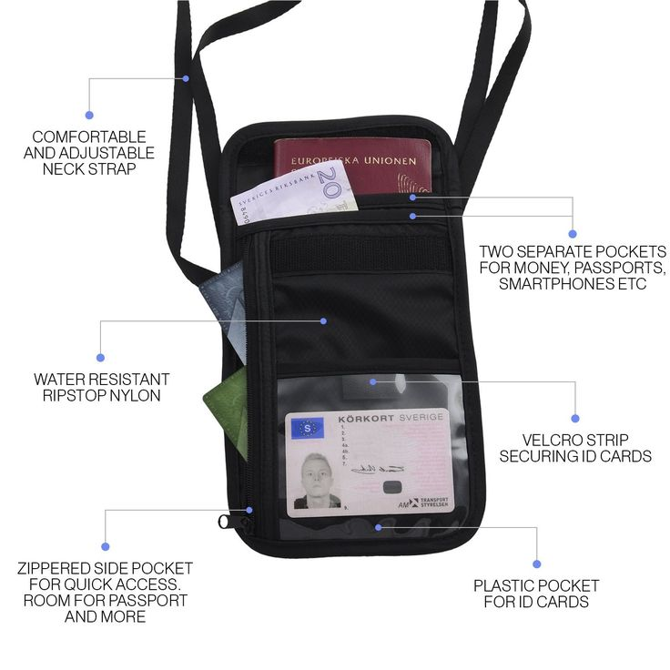 2 Pack: The Friendly Swede Neck Pouch, Passport Holder with RFID Blocking Sleeves, Black: Amazon.co.uk: Sports & Outdoors
