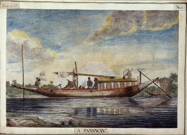 Pansway was a small passage boat used for inland river navigation. This is a 1799 etching print of the work by Flemish Artist Francois Balthazar Solvyns. #ancienttransport #heritage #transport #museum #boat #flemish #artist #oldtimes