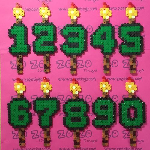 Zo Zo Tings - Minecraft Pixel Birthday Candle Numbers
