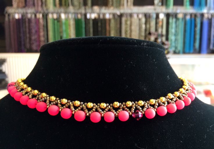 Elegance necklace with neon Czech glass rounds, Miyuki seed beads and a wee bit of Swarovski for some sparkle!  http://www.thebead.co.uk/acatalog/Jewellery_Making_Classes_Glasgow.html
