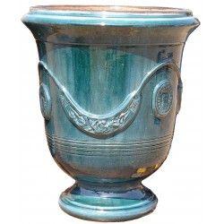 Vase d'Anduze terre cuite émaillée Bleu Terre Figuière