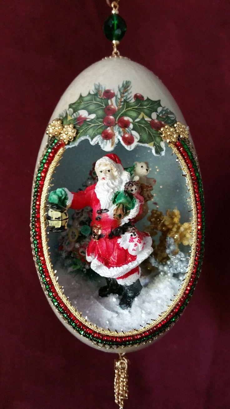 Santa Deliving Toys With His Lantern By Spiritsinshellsshop On Etsy  Christmas Baubleschristmas Lightschristmas Ornamentchristmas Craftsegg