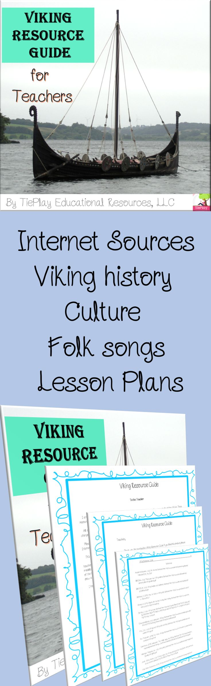 Price $4.00 Need to have a unit ready to go... fast? Viking Resource Guide includes lesson plan links...and more to Viking history and culture. Teachers can pick and choose the best activities with previewed sources for your class.This resource includes: teacher's guides,teaching materials,  presentations/visual aids, informational text on history and culture, games, Viking sports,  models of Viking ships, maps, naalbinding, recommended books of the age, vocabulary, and much more!