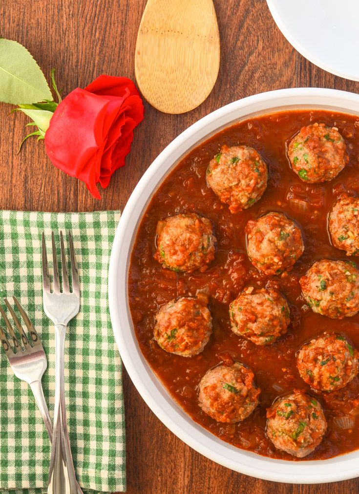 Meatballs with Lebanese spices in a savory tomato sauce. Easy recipe and a nice change from the regular same ol same ol.
