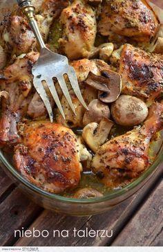 Kurczak pieczony w musztardzie z pieczarkami składniki…