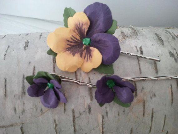 Primavera ispirato forcine, set di 6 carta Salvatore e fiori viola su perni di capelli d'argento, perfetto per qualsiasi occasione, capelli matrimonio, capelli sposa