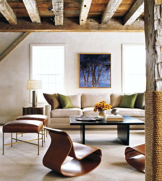 Reclaimed Barn timbers and siding for rustic ceiling, beams, and supports