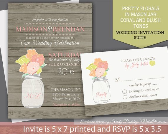1000 images about Wedding paper goods – Mason Jar Wedding Invites
