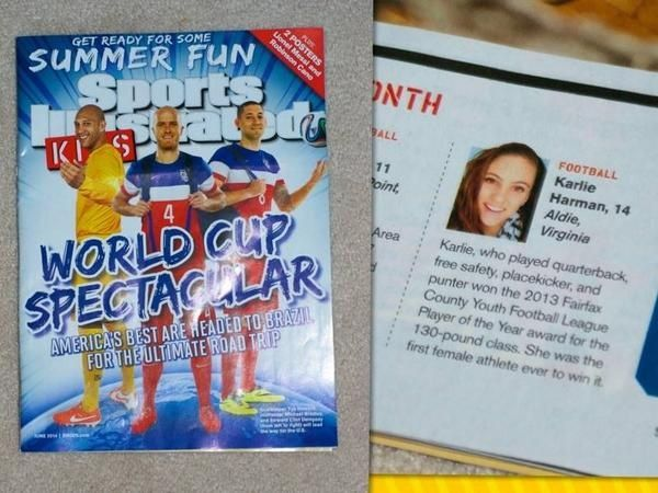 Sports Illustrated Kid's Magazine announcing Karlie's football efforts! #6, QB