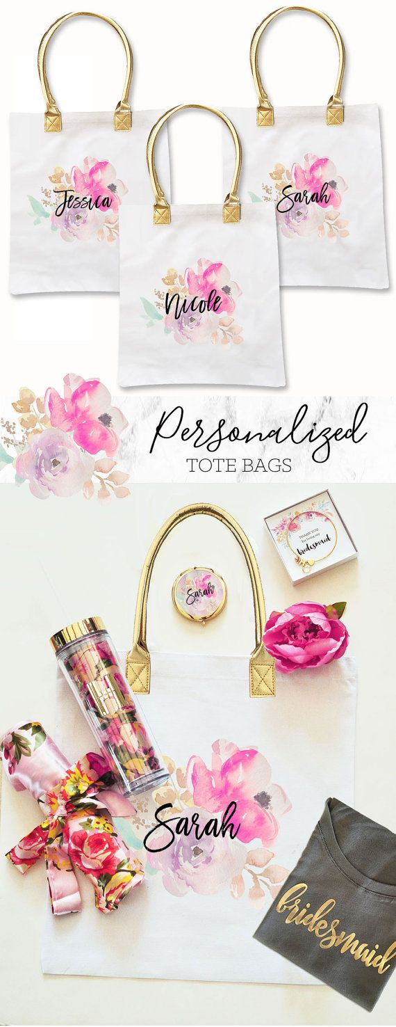 Personalized Tote Bags for packaging your pretty Bridesmaid Gifts! Each pretty floral bag is custom printed with your bridesmaids name in pretty script lettering. Fill them with your own tumblers, candles, and flower girl robes for an unforgettable gift! Little Girls love carrying these totes around and showing off their position in the bridal party while shopping for your upcoming wedding.  ***Details***  This listing is for 1 floral printed Tote Bag in WHITE.  Printing is ONE SIDED only…