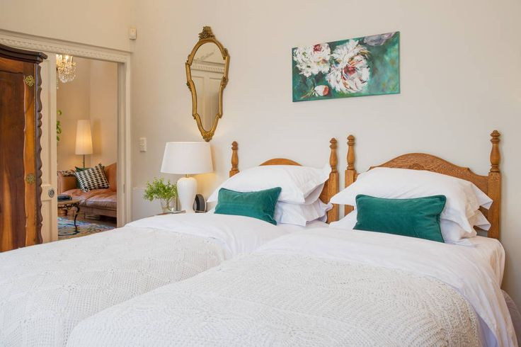 Two single beds can be pushed together to form a large king size bed or separated to accommodate friends or relatives.