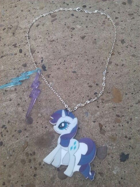 Unicorn pendant with acrylic lightening bolts <3