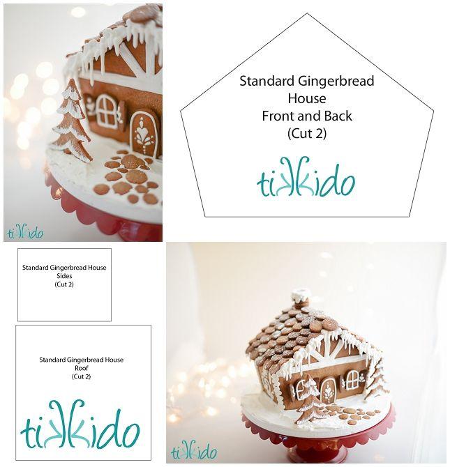Free printable gingerbread house template (Standard house shape)