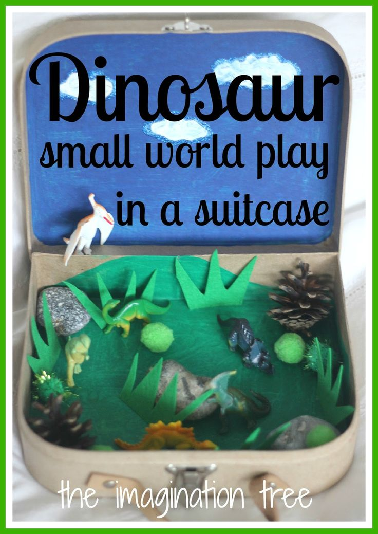 Repurpose an old suitcase~ Create a dinosaur small world in a mini suitcase for imaginative play on the go! Fun gift idea for kids!
