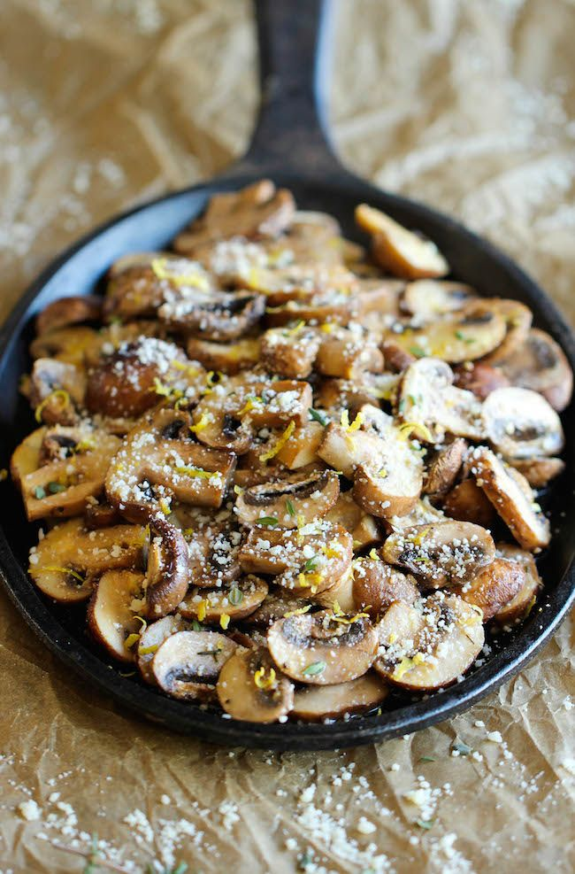 "Baked Parmesan Mushrooms - ""The easiest, most flavorful mushrooms you will ever make, baked with parmesan, thyme, garlic, and lemon goodness!"""