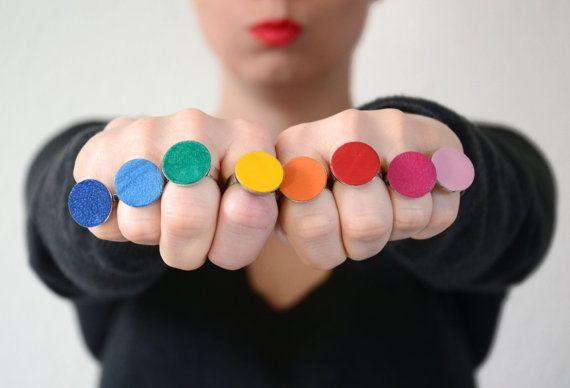 Colourful Leather Rings by SlinkyLinksJewellery