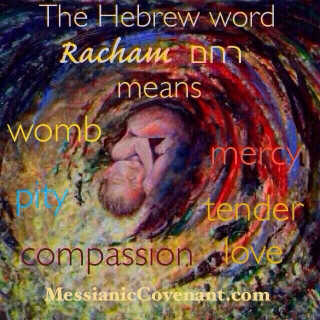 """It is an amazing revelation that the word """"racham"""" in the Hebrew is used interchangeably to describe the womb of a woman and also the compassionate heart of God. The womb is the seat of compassion - Above Rubies."""