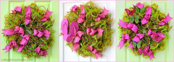 Deco Mesh Ruffle Wreath in 3 Styles