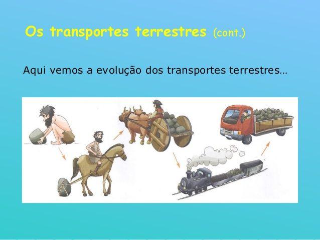 Os transportes terrestres (cont.) Aqui vemos a evolução dos transportes terrestres…