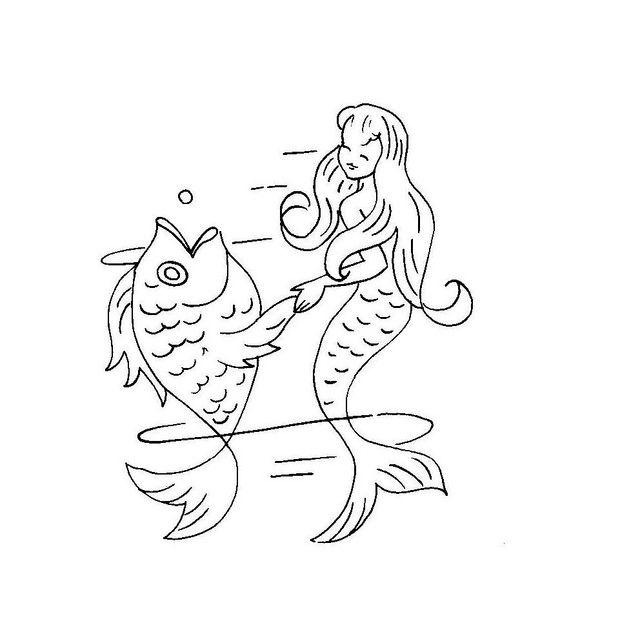 Little Mermaid embroidery transfer by Needle-n-Me, via Flickr
