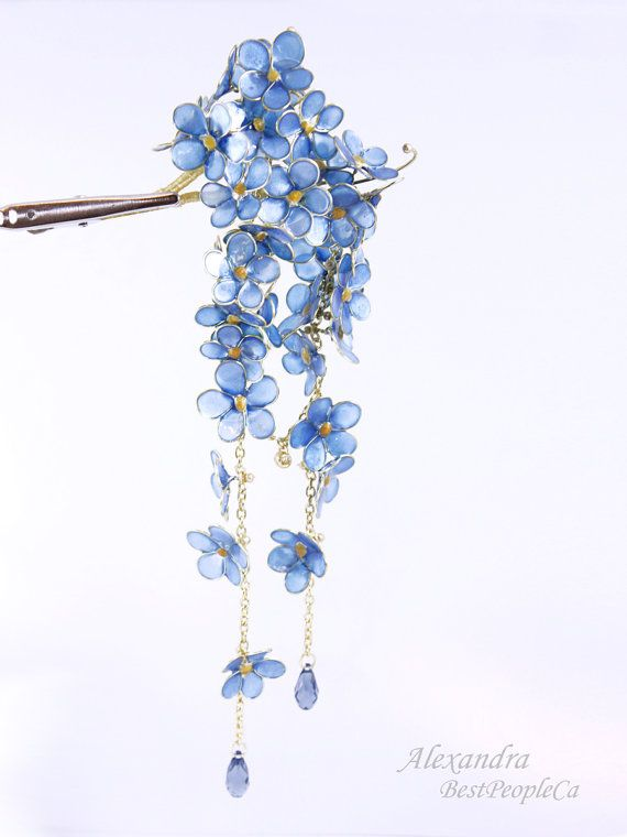 Japanese Kanzashi made from resin. Forget-me-not flowers.