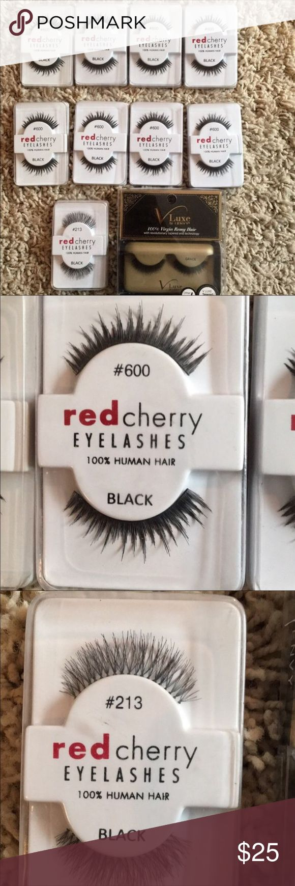 Red Cherry & V Luxe by I Envy Lashes I have  8 pairs of Red Cherry #600  1 pair of Red Cherry #213 1 pair of V Luxe by I Envy Grace (original price $4.99) 100% virgin remy hair with tapered ends.  All lashes are 100% human hair. Brand new never been used. Original price for Red Cherry lashes $2.99. Red Cherry & V Luxe by I Envy Makeup