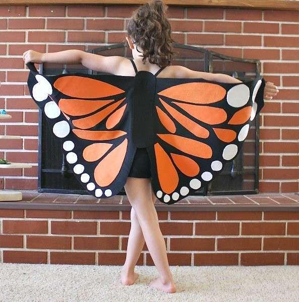 Ali da farfalla per Carnevale - Ali da farfalla di stoffa arancioni e nere