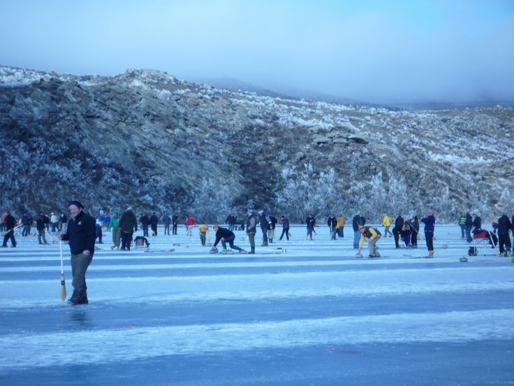 Bonspiel, Idaburn Dam Central Otago. When the ice reaches the right thickness the call goes out to Curlers across the nation.