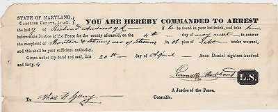 CAROLINE COUNTY MARYLAND POLICE DEPARTMENT 1840s ARREST WARRANT DOCUMENTS